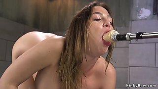 Hot brunette anal fucks machine