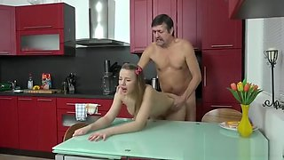 Dana - gets fucked in the kitchen by creepy old man