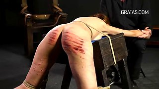 Brutal caning and whipping action