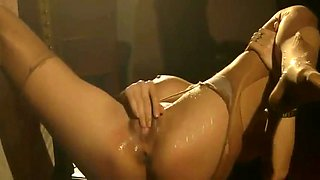 Girl smokes and squirts