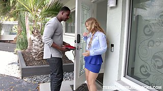 White babe Sloan Harper get acquainted with a huge dick of new black neighbor