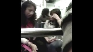 Wanking his little dick in public to girls on the bus