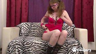 Very ugly Elke Vogel stabbing herself with blue vibrator