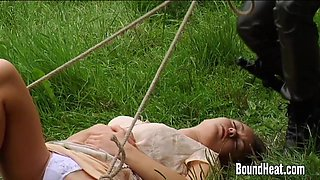 Innocent Young Girl Caught and Tied Up By Huntress