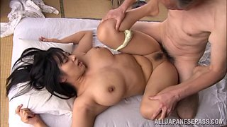 Japanese broad with big tits gets fucked silly by horny old guy