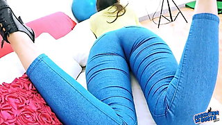 EPIC Deep CAMELTOE In TIGHT BLUE JEANS and With a BIGASS Cra
