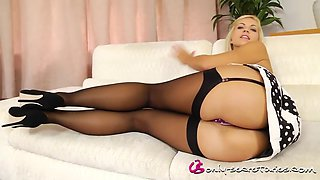 onlytease jenni p sexy little dress with black stockings and high-heels