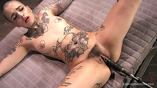 naughty babe fucks a sex machine