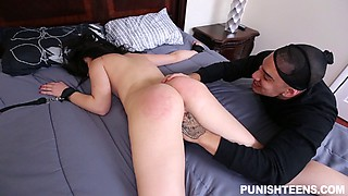 Burglar ties up a slut in her bedroom and fucks her pussy hard