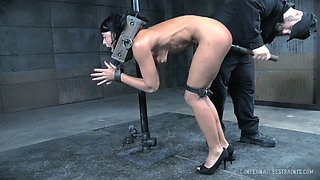 Submissive black haired chick got restrained and banged rough