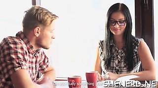 Nerdy female student in glasses receives pounded roughly