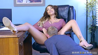 hot, young boss cassidy banks gets licked by her employee
