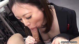 Cute brunette ritsuko tachibana swallows a boner in the offi