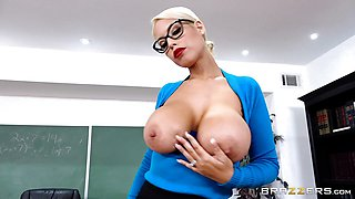 Horny teacher Bridgette B blows students monster cock