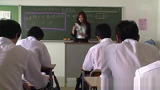 Busty japanese teacher Julia Boin abused by two students at school