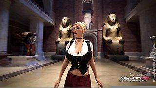 3D animation futanari girlfriends fucking in a museum