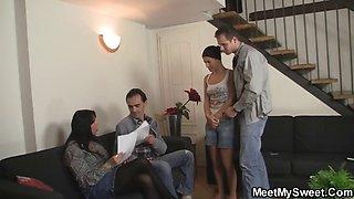 Parents seduce their son\'s GF
