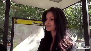BUMS BUS - Wild interracial fuck in the van with hot German teen