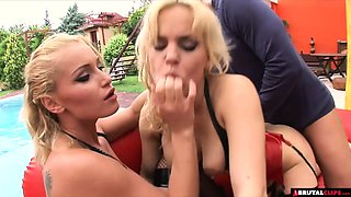 Hardcore domination threesome for blonde pet