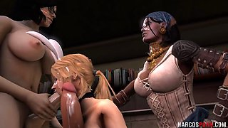 Futanari chicks hammering 3D babes deeply in foursome