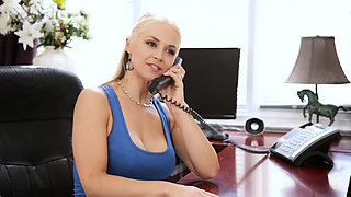 Stepmom MILF fucks her big dick stepson in her office
