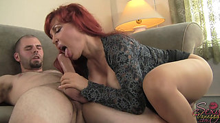 Busty mature redhead sucks and fucks