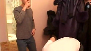 Boy with friends fucks mature mom in the kitchen