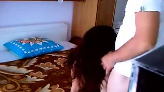 Petite brunette teen getting drilled hard all over the bed