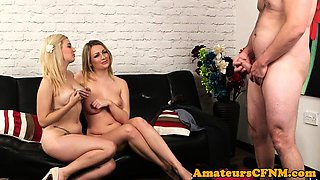 Uk CFNM babes give jerk off instructions