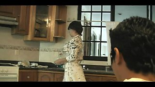 milf maid seduced and fucked in the kitchen from behind