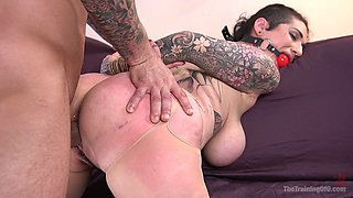 Dirty whore Arabelle Raphael is tied up and fucked hard by one rude dude