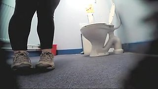 Rwo chubby women peeing in toilet