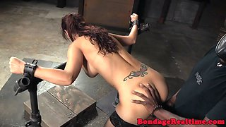 Bondage milf in stockings gets pussy drilled