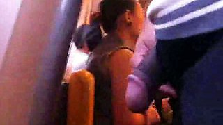 Jerking off my brown cock on public in the bus close to hot chick