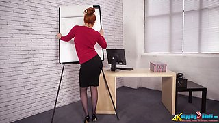 Red haired bitch Kara Carter enjoys stripping in the office