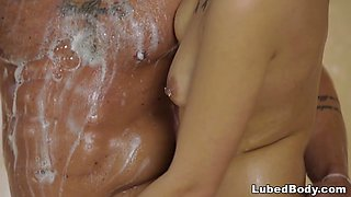 Jaye Summers massaging a gym guy