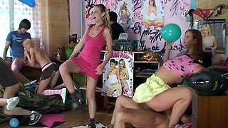 Orgy at a teen dance party with cute girls fucking all over the room