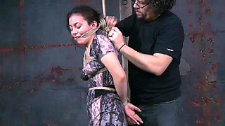 Sexy chick Lorna gets her nipples punished in the basement