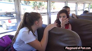 Slutty schoolgirl Natalie Monroe pussy pounded in school bus